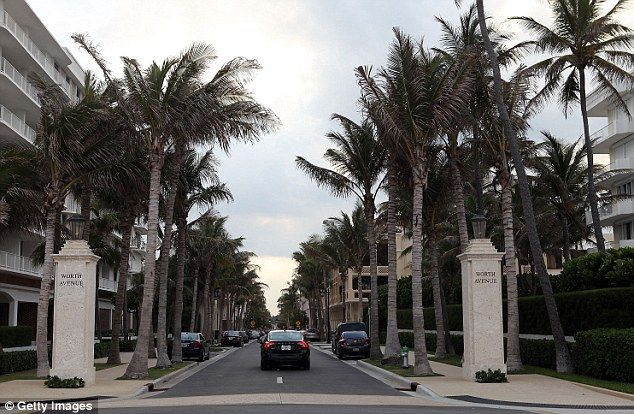 Palm's Beach's posh shopping street Worth Avenue boasts shops like Cartier and Hermes...