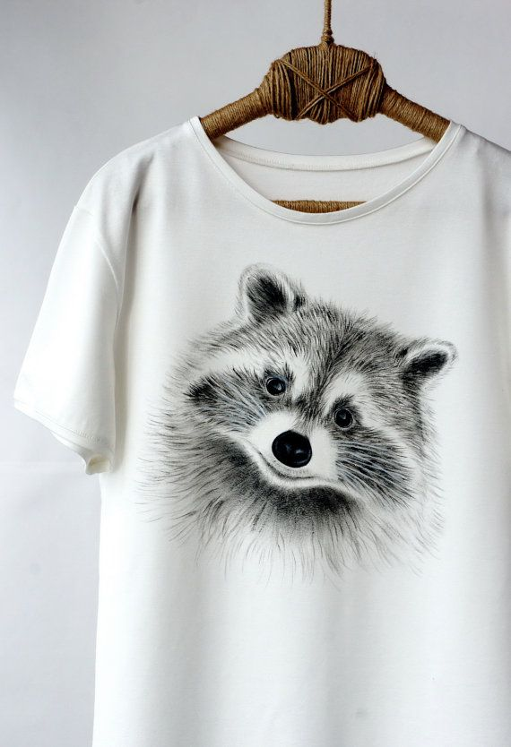 Hand Painted Designer Men Shirts Raccoon Art Clothing Handpainted Animal Shirt Shirts Tshirt Funny Paint T Shirt Tee Cute Racoon For Him