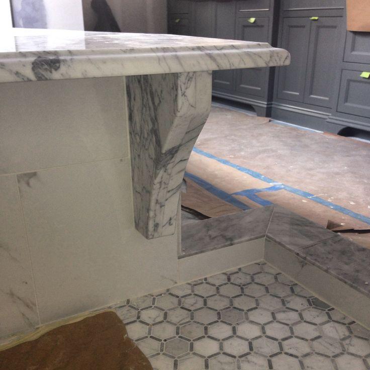 Carrara bench seat bracket hex floor tile