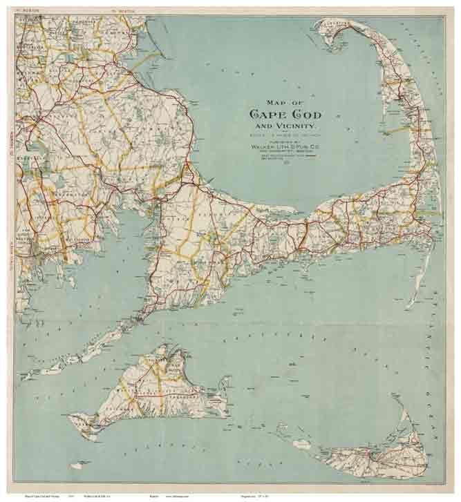 1917 Map of Cape Cod - Walker