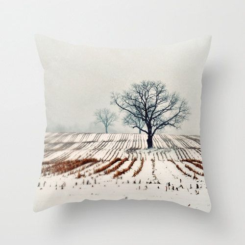 SALE Pillow Cover Photo Pillow Winter Farm Trees by ellemoss, $32.30