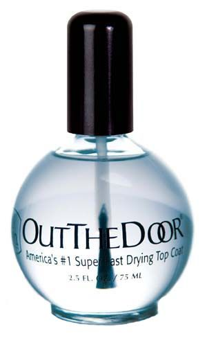 Out the door nail top coat - better than seche vite.... I don't know about that, since I've never used Seche Vite, but I swear by THIS product! Found at Sally Beauty Supply.