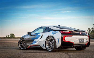 壁紙をダウンロードする BMW i8, 2017, チューニングi8, 電気自動車のスポーツ, ドイツ車, BMW