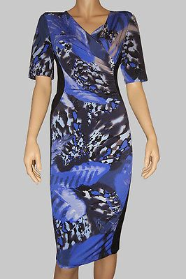 Leaf Print Panelled Dress with v-neck, bodycon style, midi length,lined, size 12 $57 via @Shopseen