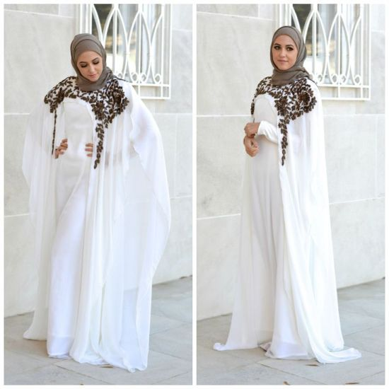 white kaftan, hijab style, Classy hijab outfits http://www.justtrendygirls.com/classy-hijab-outfits/