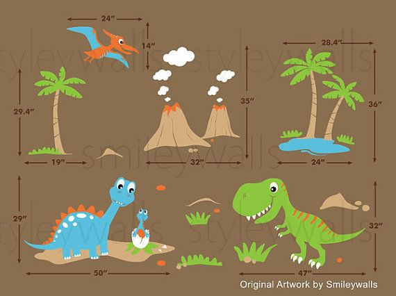 Popular Dinosaurs Wall Decal Dino Dinosaurs Land HUGE Set by smileywalls