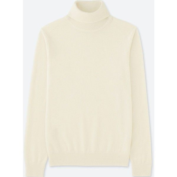 UNIQLO Men's Cashmere Turtleneck Sweater (1,760 EGP) ❤ liked on Polyvore featuring men's fashion, men's clothing, men's sweaters, off white, mens cashmere sweaters, mens crewneck sweaters, mens short sleeve turtleneck, mens short sleeve sweater and mens turtleneck