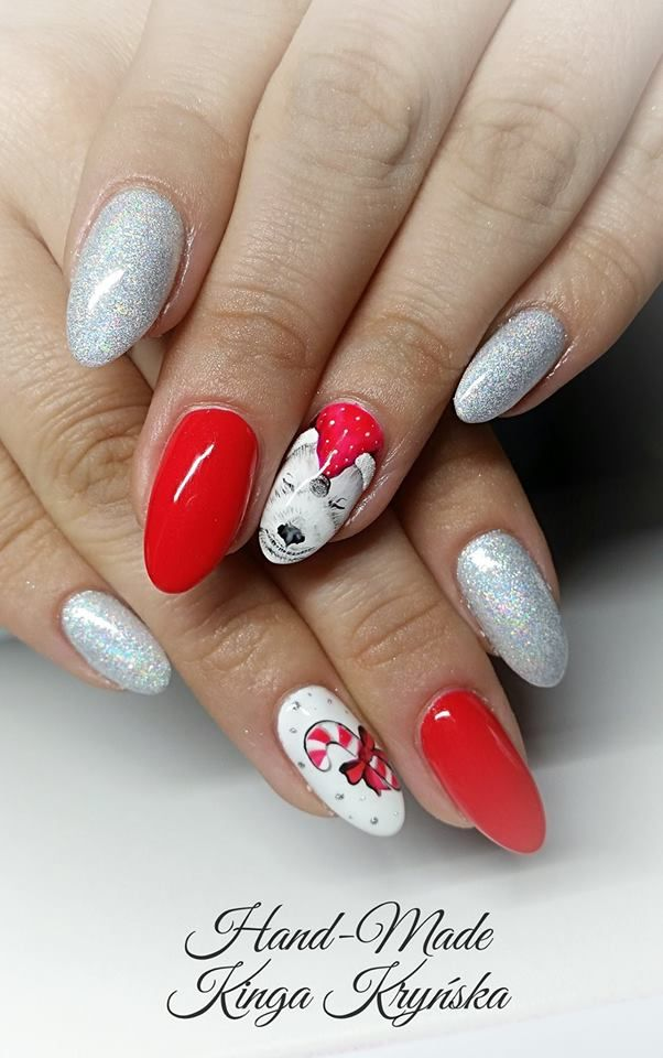 Delicious Nail Designs: Holo Efekt Silver, Red Delicious, Mr.White Oraz Paint Gel