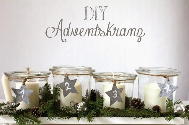 Adventskranz in Gläser