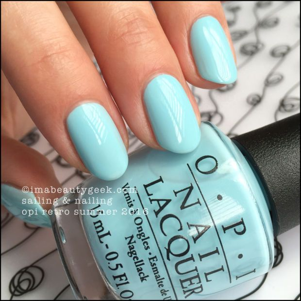"OPI ""Sailing & Nailing"" from its Retro Summer 2016 collection. Wow! Beautifully pigmented icy blue.  Love."