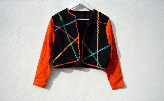 Giacca nera vintage giacca arancione di MetamorfosiAmbulante