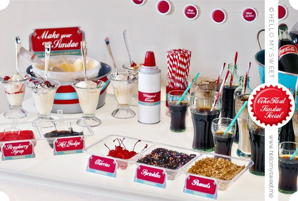 """Coke Float Sundae Social... A """"build your own"""" ice cream party would be fun! Though rootbeer and cream soda taste much better in floats lol"""
