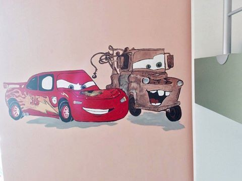 Mcqueen and Tom Mater wall painting (cars) for kids #cars #mcqueen #mater #wallpainting #kidsroom