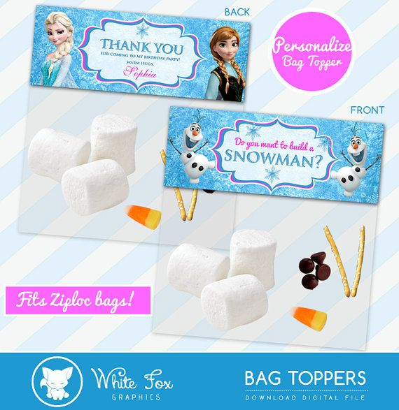 Do You Want To Build A Snowman, Frozen Favor, Personalize Bag Toppers, Disney Frozen Treat Bag Topper - Birthday Party Printable Olaf