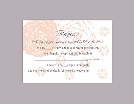 DIY Wedding RSVP Template Editable Word File Instant Download Rsvp Template Printable RSVP Cards Floral Peach Pink Rsvp Card Rose Rsvp Card by TheDesignsEnchanted
