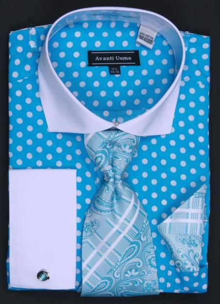 SKU#TYH53 100% Cotton French Cuff Dress Shirt, Tie, Hanky & Cuff Links Polka Dot Turquoise/White $65 Mens Dress Shirts Dress Shirts & Ties