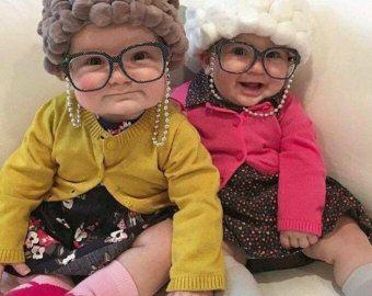 LEVERING voordat oma HALLOWEEN kostuum - oude dame kostuum - peuter kostuum baby kostuum-baby meisje oma-hoed, bril keten houder