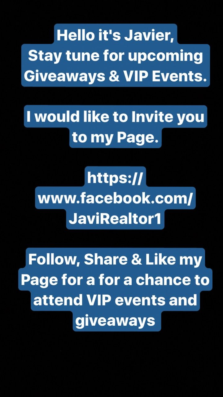 Hello it's Javier, Stay tune for upcoming Giveaways & VIP Events.  I would like to Invite you to my Page  https://www.facebook.com/JaviRealtor1   Follow, Share & Like my Page for a for a chance to attend VIP events & giveaways  #Buy #Sell #Lease #NewHome #Specialist #RiverOaks #Heights #Downtown #Memorial #Galleria #Montrose #Facebook #Texans #LinkedIn #HAR #Weddings #Spanish #OpenHouse #RealEstate #Houston #LuxuryRealEstate #JaviRealtor1 #Realtor #Texas #HGTV #LGBTQ #HomeBuilders…