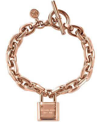 Michael Kors Rose Gold-Tone Chain and Logo Padlock Bracelet - Fashion Bracelets - Jewelry & Watches - Macy's