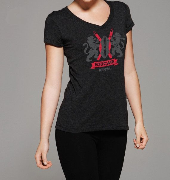 Educate Kenya Tshirt CREST  all proceeds by MegansCozyCreatives, $15.00