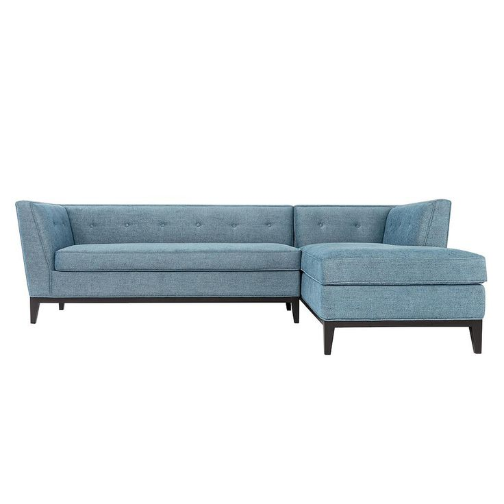 Azure Textured Linen Right Arm Facing Sectional on Dark Brown Legs #dynamichome #sofa #sectional #blue #tufted #light #transitional #style #livingroom #lounge #ideas #coastal #homedecor #interiors #interiordesign
