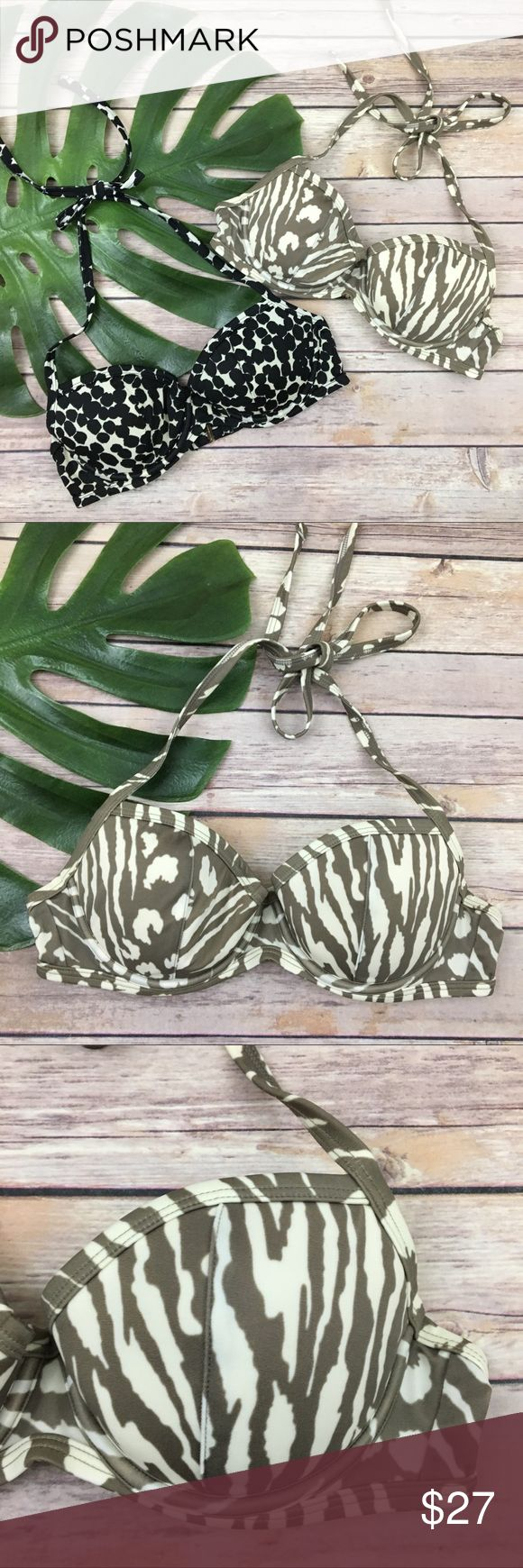 Set 2 Victoria's Secret animal print bikini tops Lot of 2 Victoria's Secret halter top bikini tops with underwire and push-up, size 34B. They are free from any rips or stains. The bands measure about 26 inches from end to end. Victoria's Secret Swim Bikinis