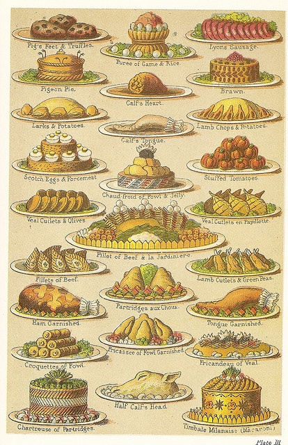 """Victorian Cookbook - """"Mrs Beeton's Everyday Cookery""""  note: tongue garnished & half calf's head"""