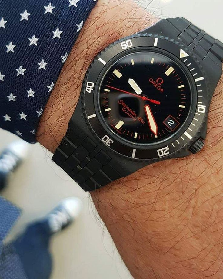Mint Condition 1980s Vintage Omega Seamaster 120 also known as the Calypso III in all original Black PVD coating. Killer!