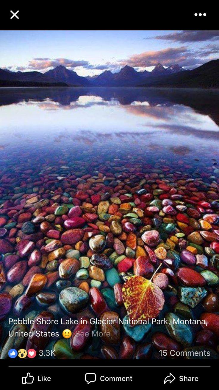 Pebble Shore Lake in Glacier National Park, Montana US