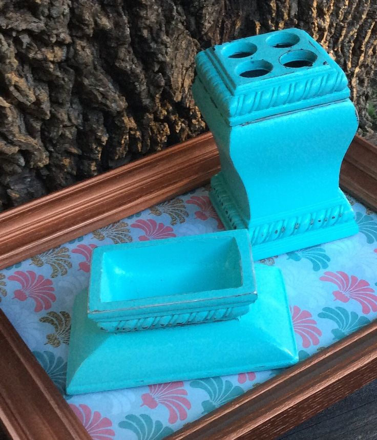 Turquoise Soap Dish & Toothbrush Set, Bathroom Set, Teal Bathroom, Painted and Distressed by ModBugDeco on Etsy https://www.etsy.com/listing/485518497/turquoise-soap-dish-toothbrush-set