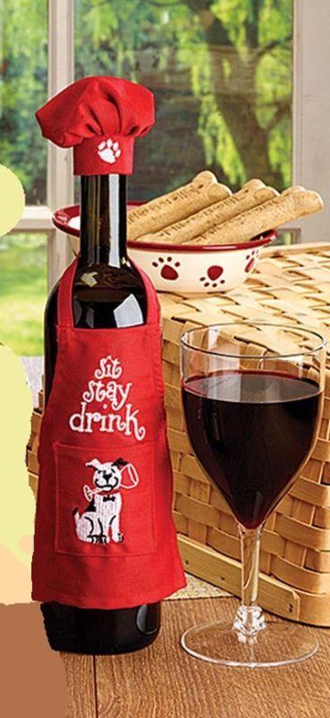 Botella De Vino Delantal Chef Set, Fiesta De Navidad vino Decoración, Vino Regalar idea