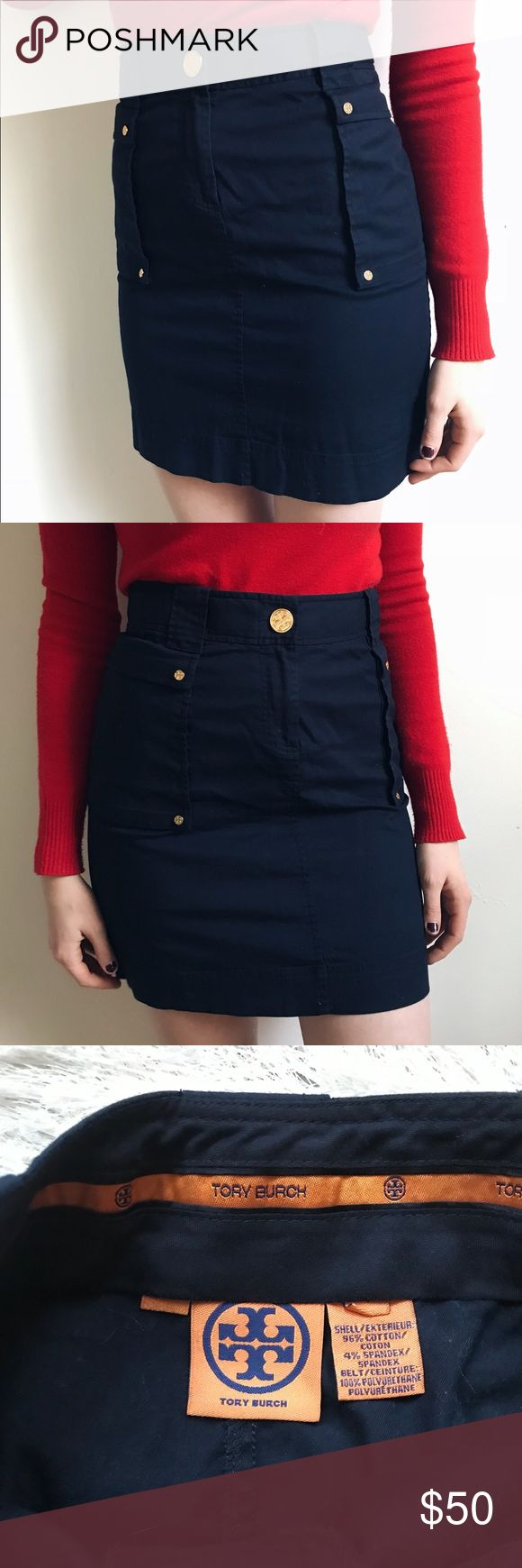 Tory Burch Navy Pencil Skirt True to size navy pencil skirt with gold hardware by Tory Burch. Very classic and a staple piece. It's only been worn a couple times, in very good condition. Two side pockets bordered with gold buttons. Tory Burch Skirts Pencil