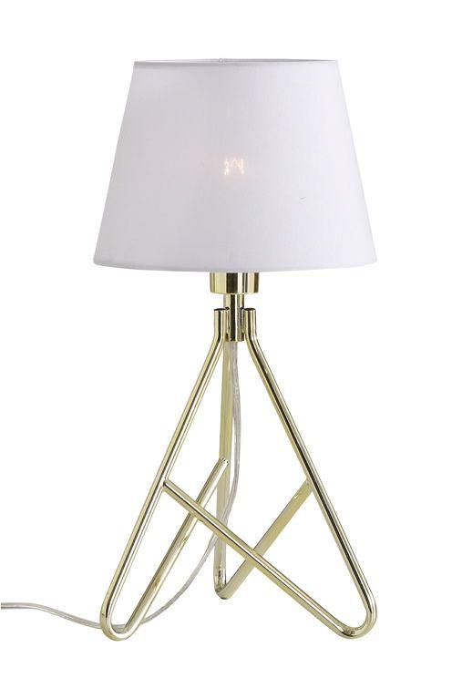Bordlampe av metall med skjerm av tekstil. <br>Ø 21 cm. Total høyde 41 cm. Ledningslengde 165 cm. Veggkontakt. Liten sokkel. <br><br>