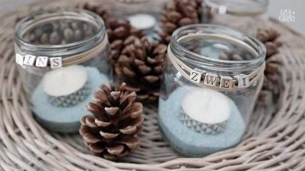 DIY Adventskranz basteln | Advent | Basteln im Advent | einfache Adventsdeko | Adventslichter | Upcycling Babygläschen | Anleitung | Gelbkariert Blog