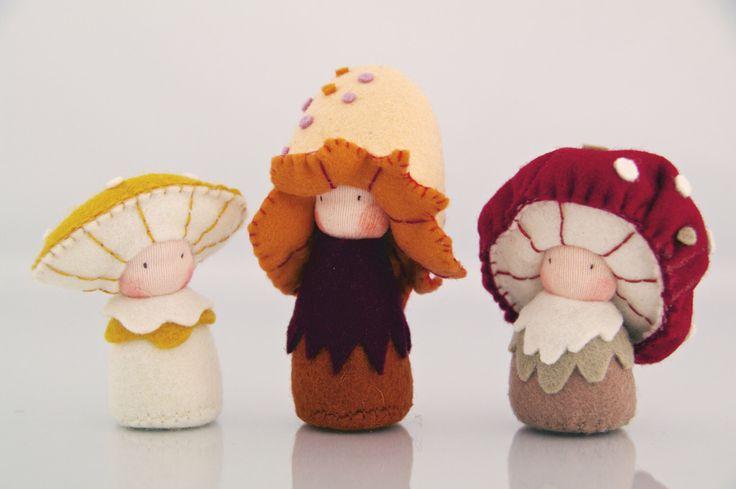 Mushroom children's dolls / Eco-Friendly natural wool felt / Waldorf by shroompers on Etsy https://www.etsy.com/listing/198923330/mushroom-childrens-dolls-eco-friendly