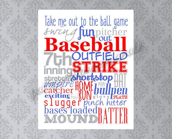 Baseball Word Collage Printable Sign by patternedpomegranate