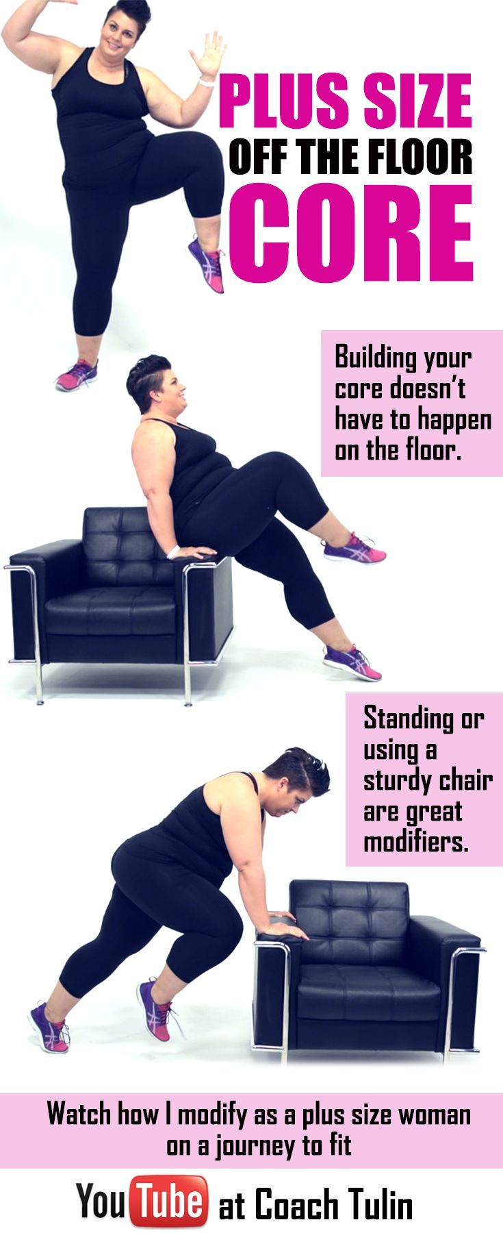 I like this Plus Size core exercises that does not require getting up and down off of the fl...