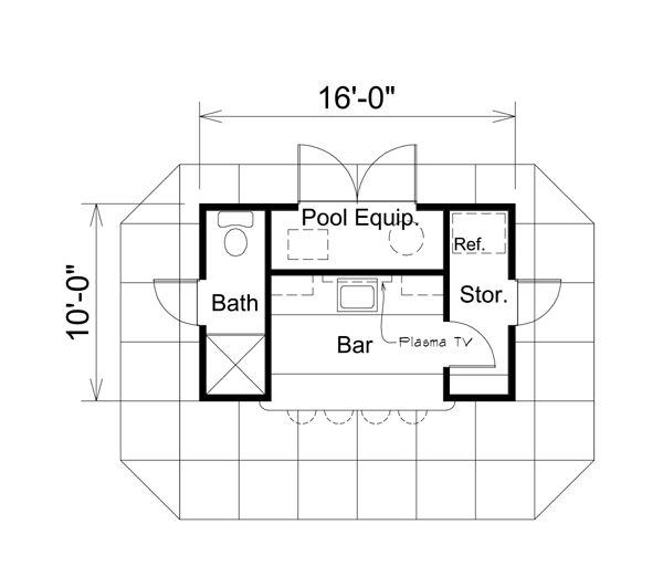 superb pool shed plans #3: Shed Plan chp-51710 at COOLhouseplans.com Pool House with bath and bar