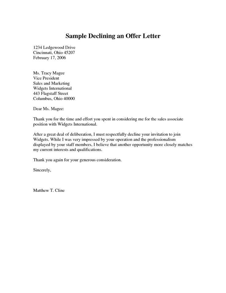 Sample Declining An Offer Letter