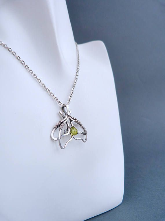 Moth Butterfly necklace - minimal chrysolite silver pendant - wire wrapped pendant - luxury classic jewelry Romantic gift for her