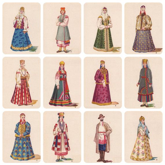 Russian Folk Costume Dress Part II. Drawings от RussianSoulVintage
