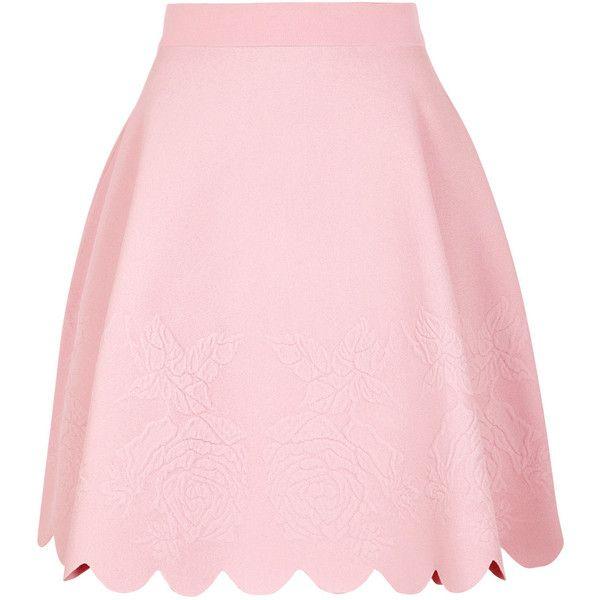 Alexander McQueen Rose-jacquard Stretch-knit Skirt (4,890 PEN) ❤ liked on Polyvore featuring skirts, mini skirts, rosette skirt, scallop hem skirt, light pink mini skirt, jacquard skirt and pink mini skirt