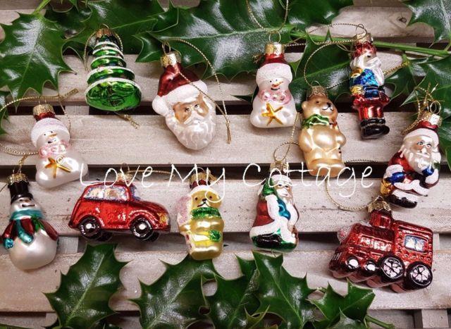 GISELA GRAHAM Christmas Decorations BOX 12 Traditional Glass Train Santa Baubles | eBay