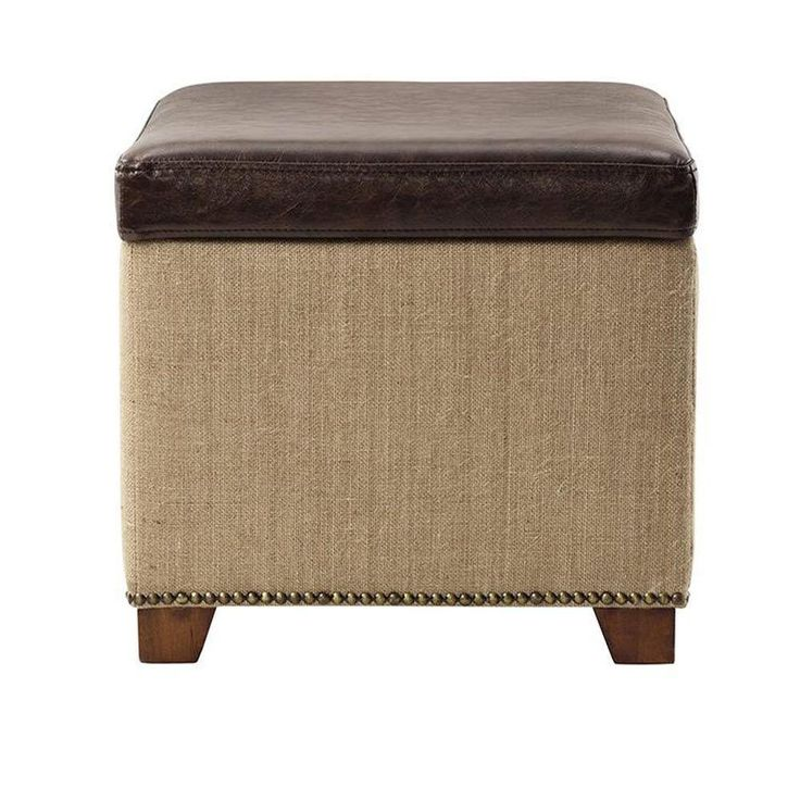 Home Decorators Collection Ethan Storage Ottoman in Brown Leather with Burlap-7159100740 - The Home Depot