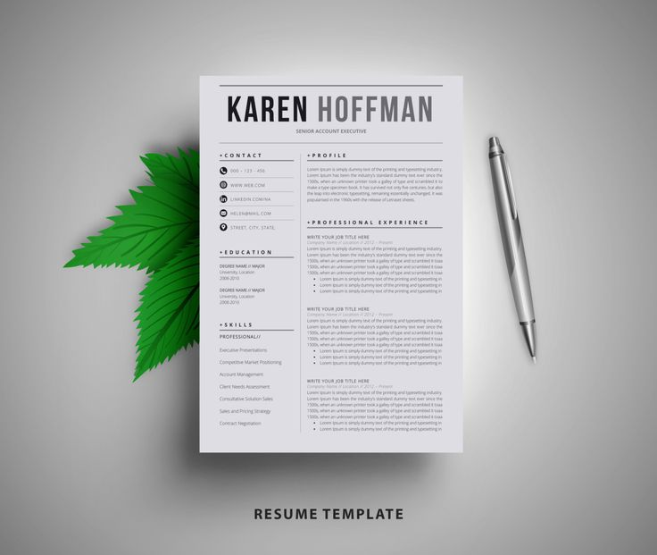 Resume Template / CV Template  Cover Letter | Instant Digital Download | Teacher Resume | Professional and Creative Resume l Black & White (15.00 USD) by BestResume