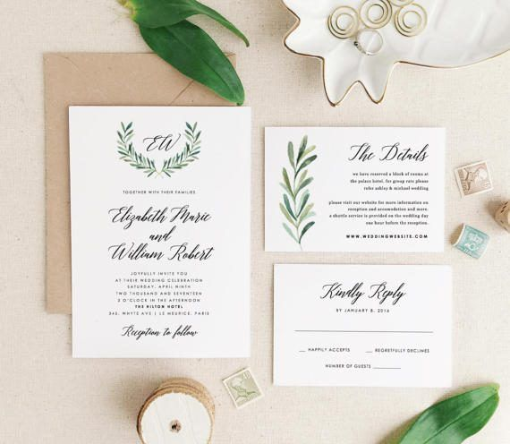 This listing is an INSTANT DOWNLOAD that includes a high resolution Invitation Suite templates in both Word and Pages format for you to edit and print at home or your local copy shop. Save time and money by editing and printing your own wedding stationery! DOWNLOAD INCLUDES -------------------------------------------- 5 x 7 Invite............(2 per 8.5x11 page) 5 x 3.5 RSVP............(4 per 8.5x11 page) 5 x 3.5 Infocard............(4 per 8.5x11 page) Instruction Guide   HOW IT WORKS…