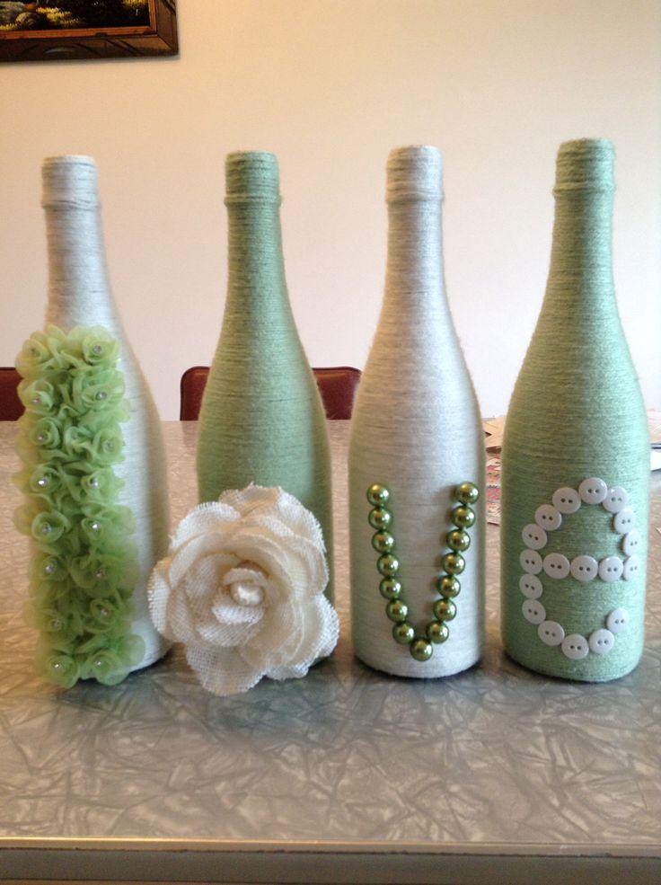 Yarn wrapped wine bottles