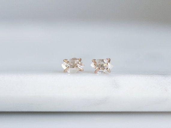NOEL · Herkimer Diamant Boucles d'Oreilles Minimalistes en Or Rempli 14k ou Argent Sterling / Boucles Pierre Précieuse