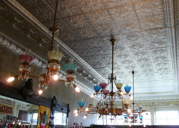 love the classic tin ceilings and vintage lighting - Tin Ceilings