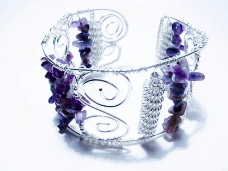 Amethyst Silver Cuff Bracelet